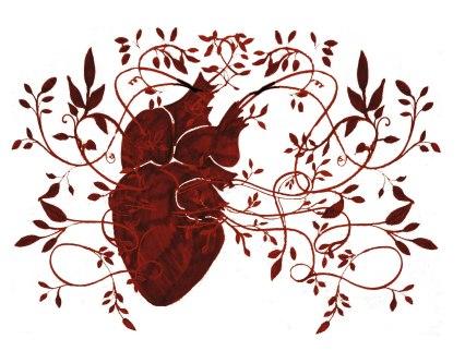 heart tendrils red rectangular