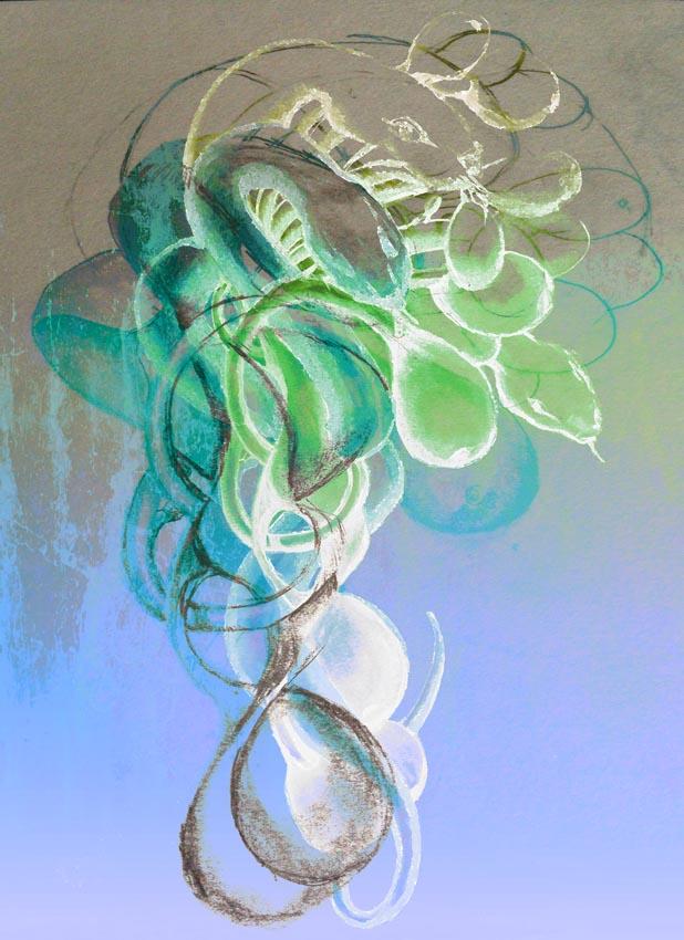 serpents coloured - mixed media
