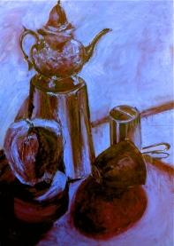 Teapot blue backgound