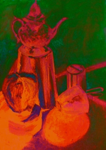 teapot red and green