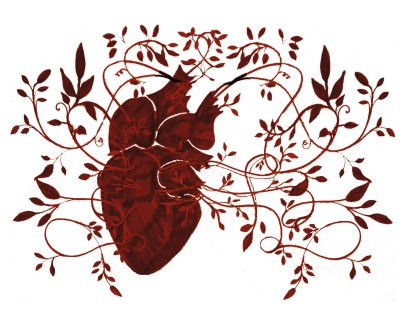 heart tendrils red rectangular